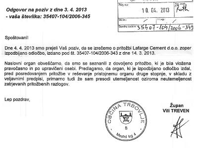 Odgovor Občine Trbovlje z dne 08.04.2013